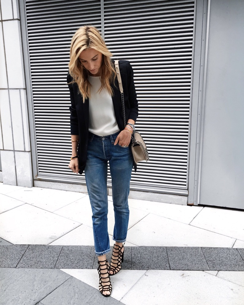 Schutz shoes, Chanel Bag, Levi's Jeans, Blazer
