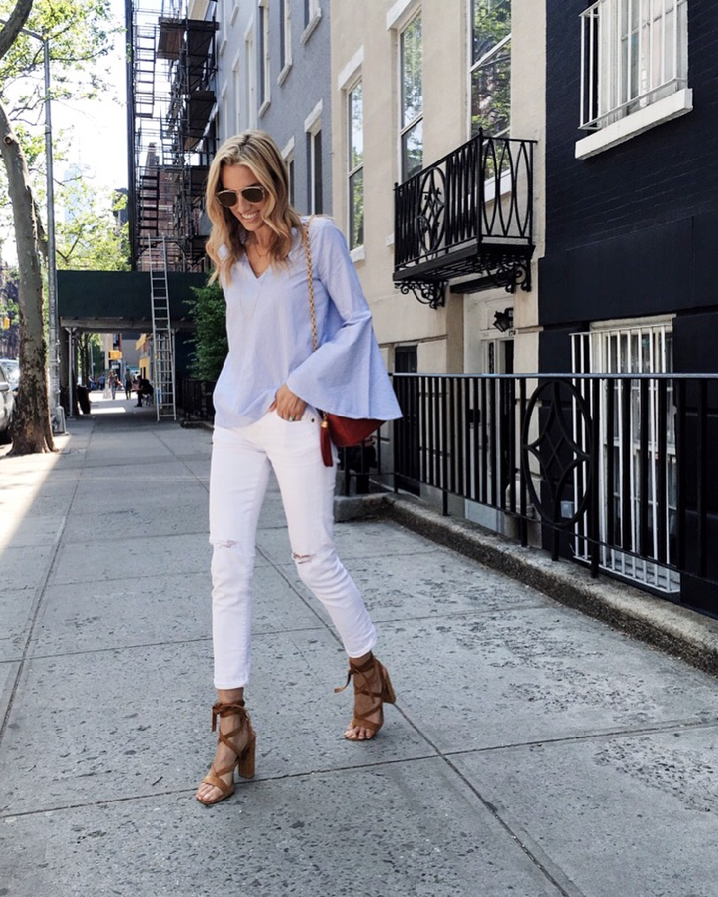 Pin Stripe Bell sleeve top, White Jeans, Chanel Vintage Bag, Gianvito Rossi shoes, Dior Sunglasses