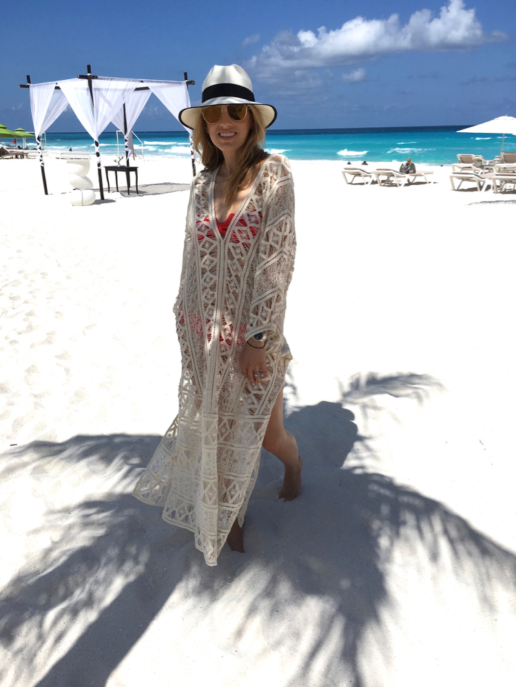 Marysia Swimwear, Eberjey Coverup, Hat, Cancun, Mexico, Vacation Outfit, Beach
