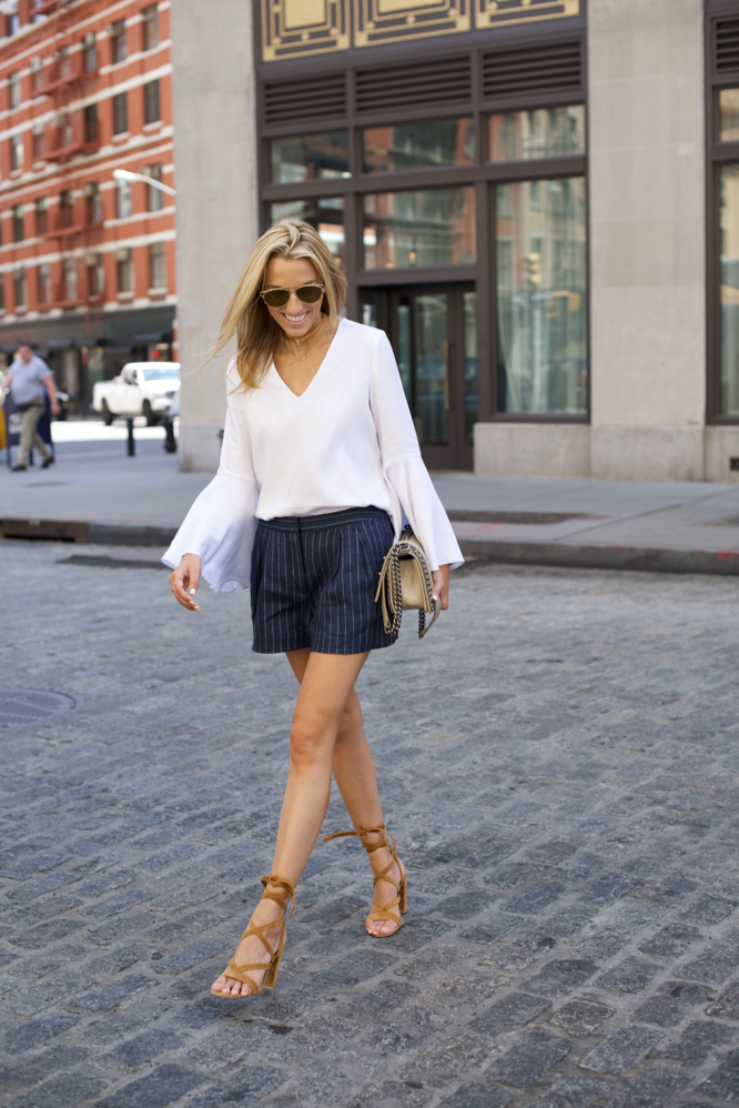 Model off duty, White bell sleeve top, Summer Style, Gianvito Rossi Lace up Sandals, Dior Sunglasses