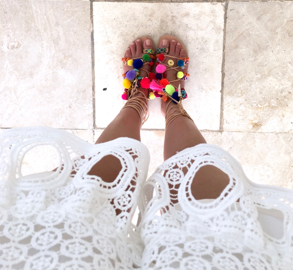 Pom Pom shoes, Penny Lane Sandals, Beach Vacation, Mexico