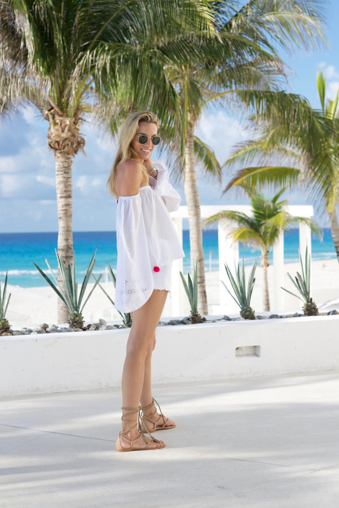 Beach Vacation, Pom-Pom Shirt, Mexico Vacation, All White, Shorts