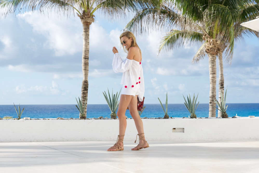 Beach Vacation, Pom-Pom Shirt, Mexico Vacation, All White, Shorts, Sundress, joie sandals