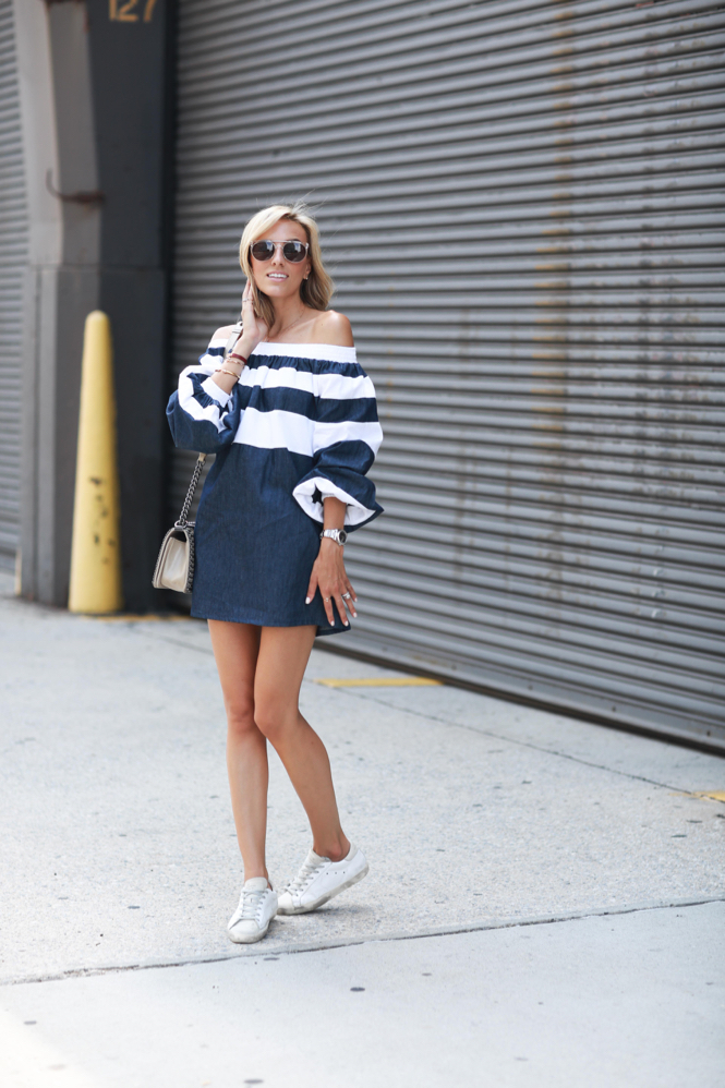 MLM LABEL Striped off the shoulder dress-Shopbop-StreetStyle-Golden Goose Sneakers-