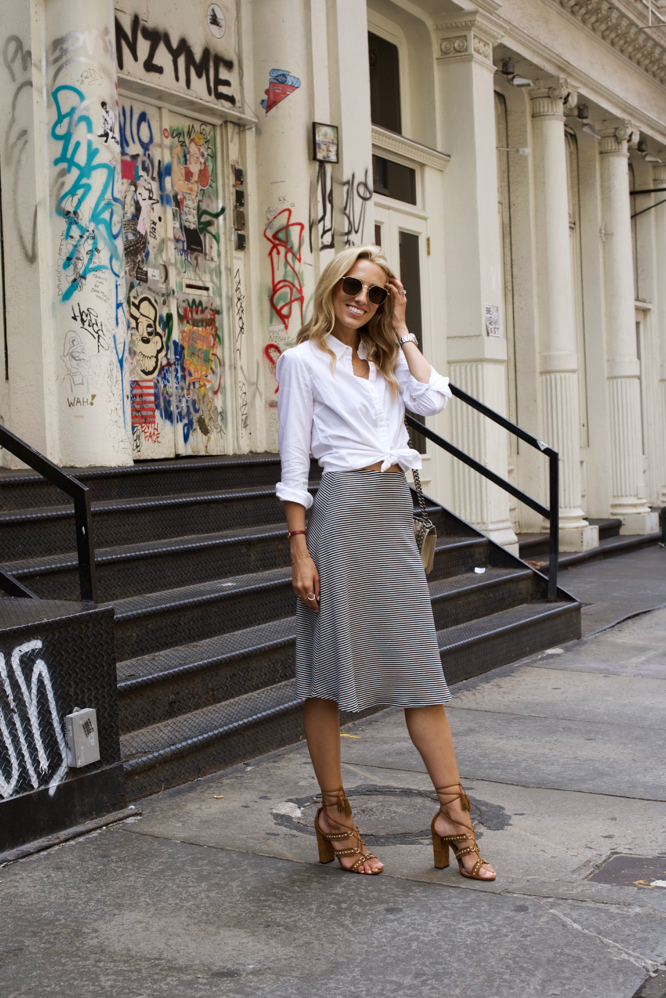 Soho StreetStyle-Striped Skirt-Gap Oxford Shirt-Aquazzura Sandals