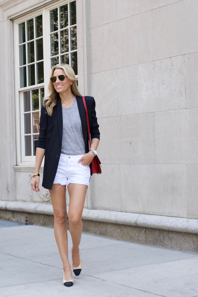 Levis Shorts, Helmut Lang Blazer, Chanel Slings, Celine Bag