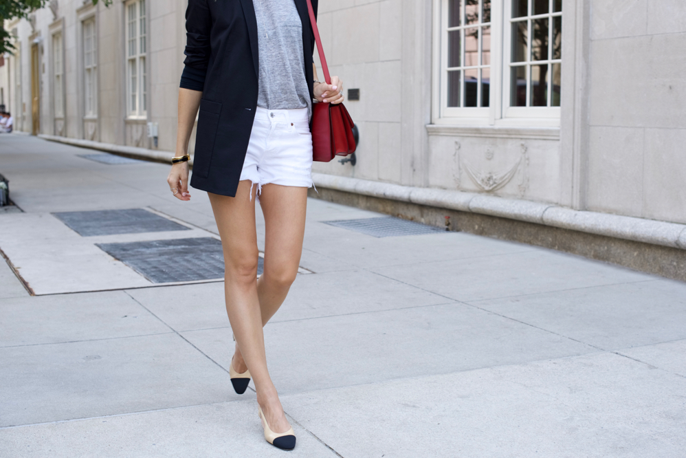 Levis Shorts, Helmut Lang Blazer, Chanel Slings, Celine Bag, Shorts, Summer Style