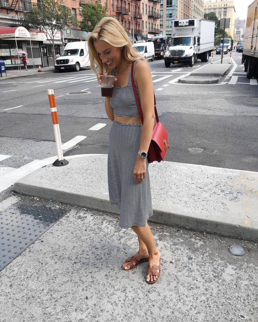Melting out out ootd in reformation striped set mindbodyswag tgif