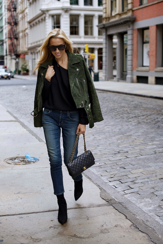Suede Jacket, Boy friend jeans, Booties, Fall outfit, Chanel Bag, Fall Style
