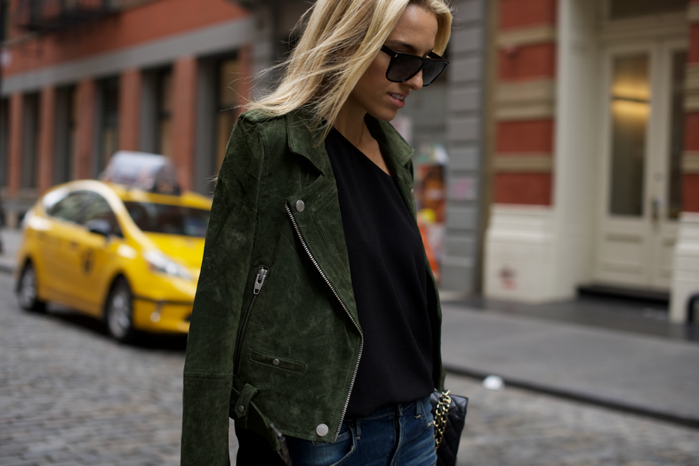 BlankNYC Suede Moto Jacket, Saint Laurent Sunglasses, Chanel Classic, NYC, Soho