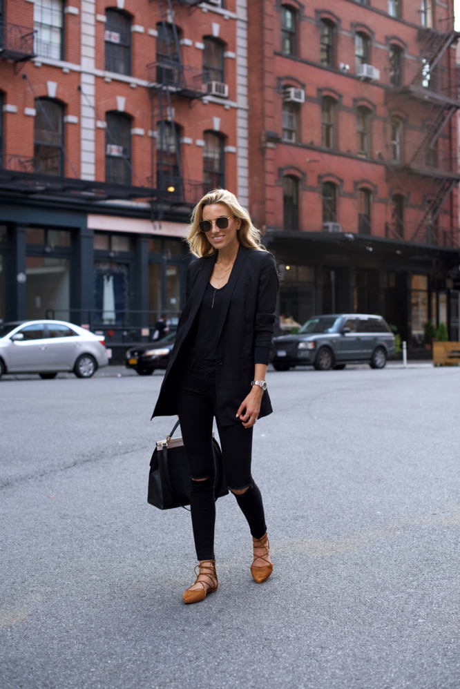 All Black Outfit, Fall Lace-up flats, Lousie et cie, Fall Fashion, Black on Black outfit