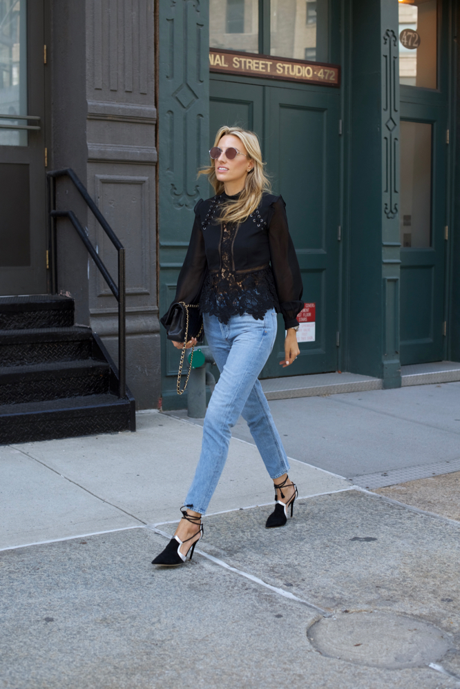 nyfw, self-portrait high-waisted jeans, malone souliers shoes, New York Fashion Week, Street Style