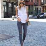 Crochet Lace Top x Grey Jeans