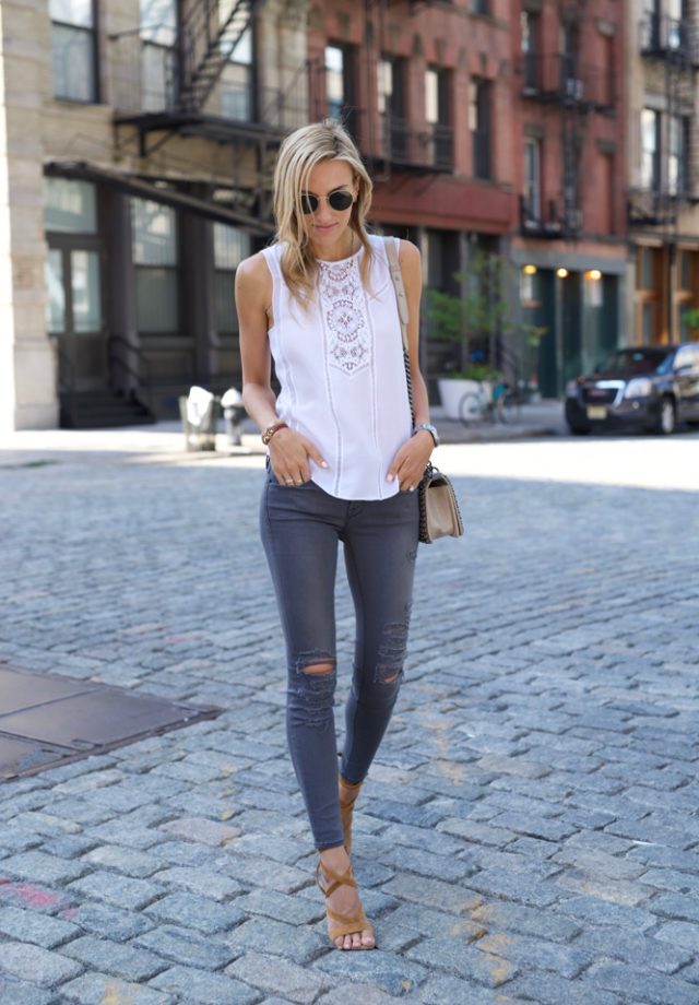 A.L.C. Crochet Lace top, Frame grey Jeans, Gianvito Rossi Sandals, Ray-ban sunnies, Chanel Boy Bag