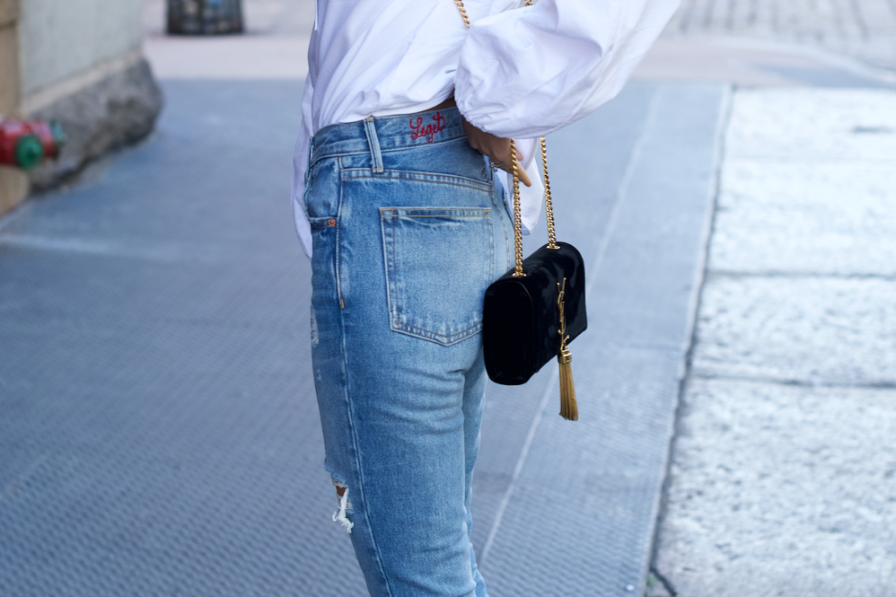 GRLFRND denim, Gucci Loafers, Slides, Velvet YSL Bag,, White Balloon Sleeve top