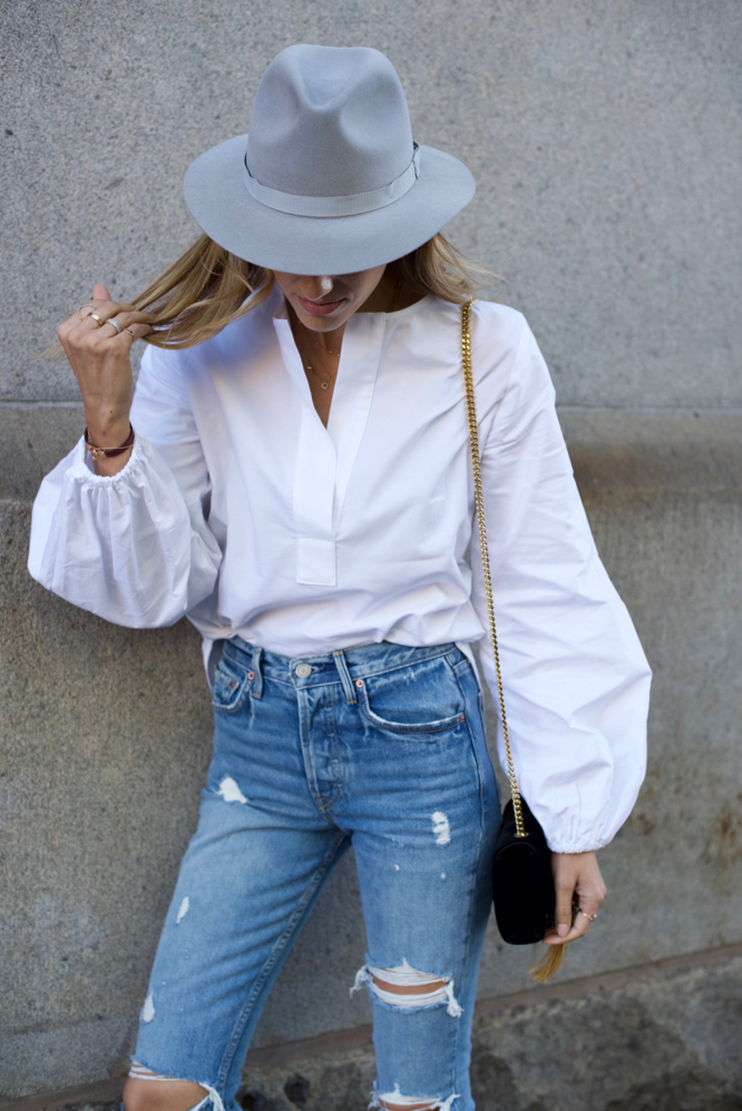 GRLFRND denim, Gucci Loafers, Slides, Velvet YSL Bag, Felt Fedora