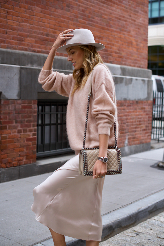 Slip dress, oversized sweater, pink sweater, fedora, Gucci backless loafers, Slides, Chanel Boy Bag