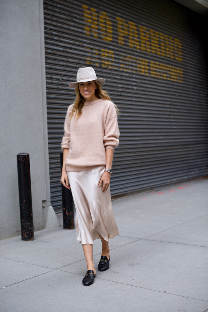 Slip dress, oversized sweater, pink sweater, fedora, Gucci backless loafers