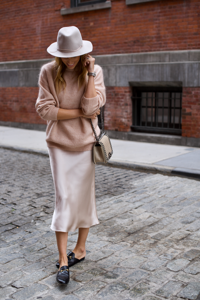 Slip dress, oversized sweater, pink sweater, fedora, Gucci backless loafers, Chanel boy bag
