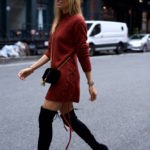 Lace-up Sweater Dress + Over-The-Knee Boots