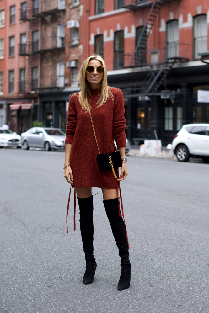 sweater dress, over-the-knee Stuart Weitzman Boots, Revolve, Lovers + Friends, Velvet bag