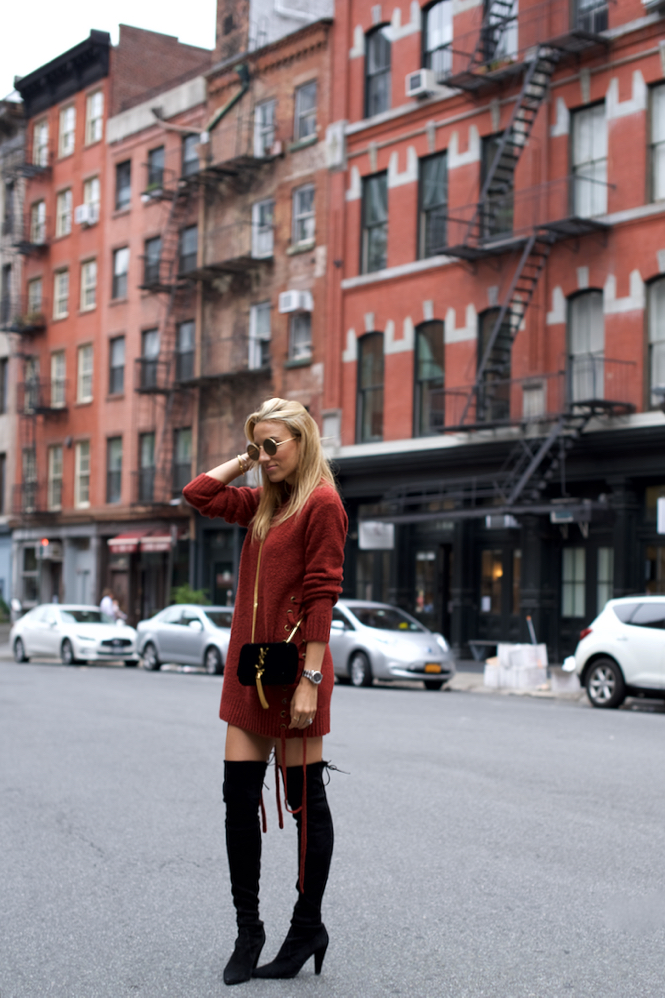sweater dress, over-the-knee Stuart Weitzman Boots, Revolve, Lovers + Friends, YSL Monogram bag