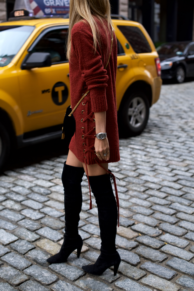 sweater dress, over-the-knee Stuart Weitzman Boots, Revolve, Lovers + Friends