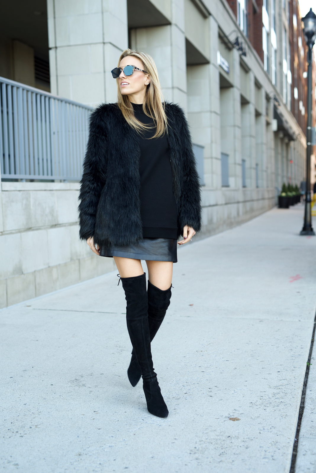 all black outfit, black friday deals, faux fur, dior sunglasses, Stuart Weitzman over the knee boots