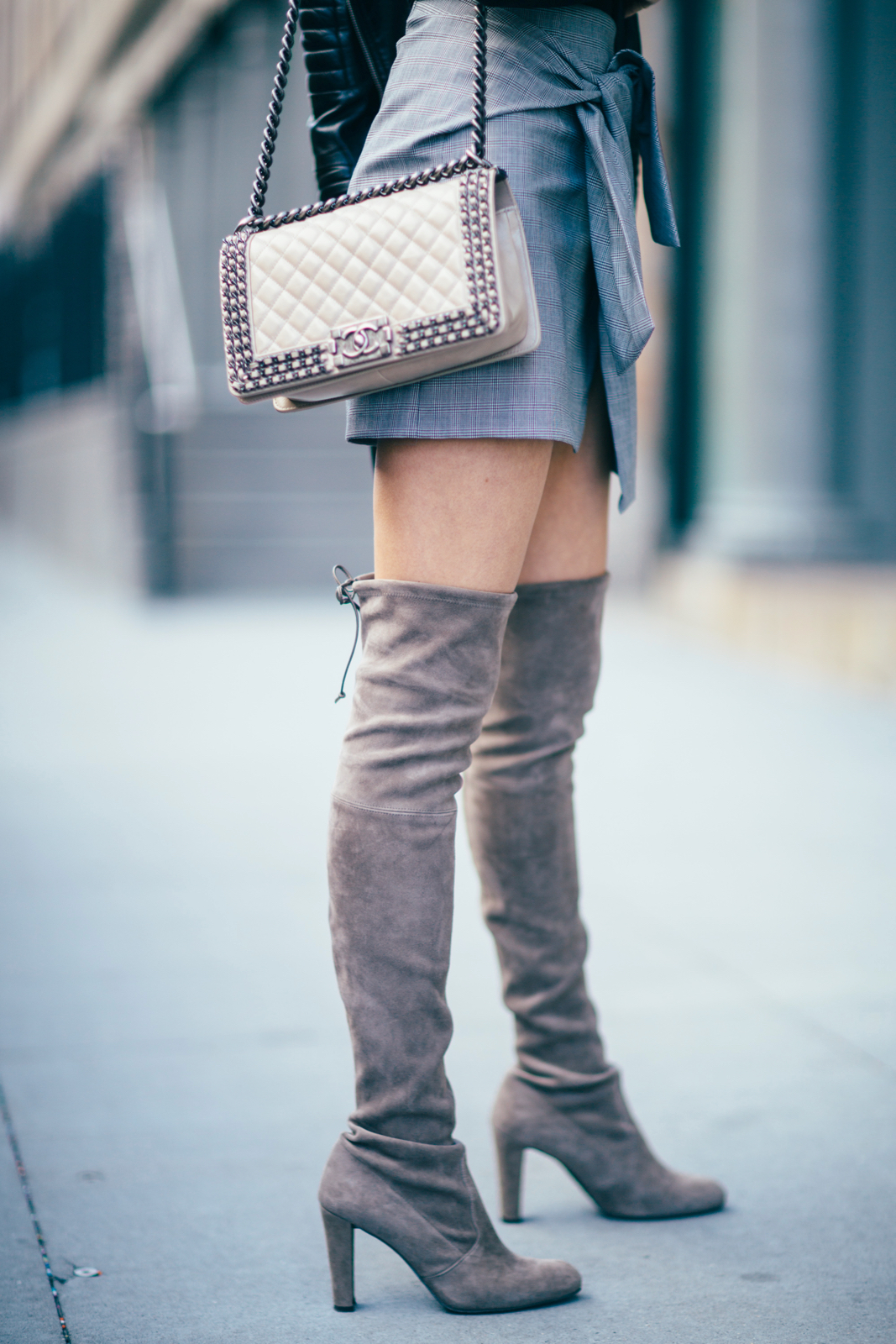 Stuart Weitzman over the knee boots, Chanel boy bag, Zara skirt, Moto skirt, Grey layers