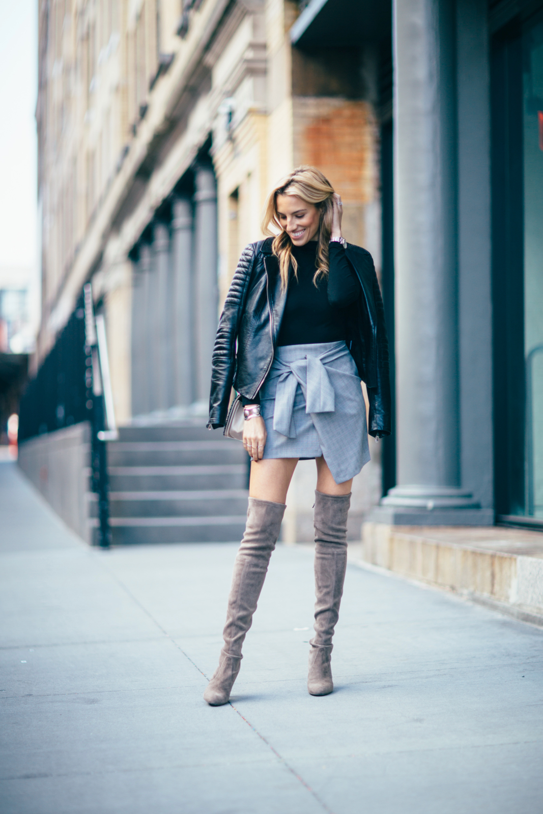 Stuart Weitzman over the knee boots, Chanel boy bag, Zara skirt, Moto skirt