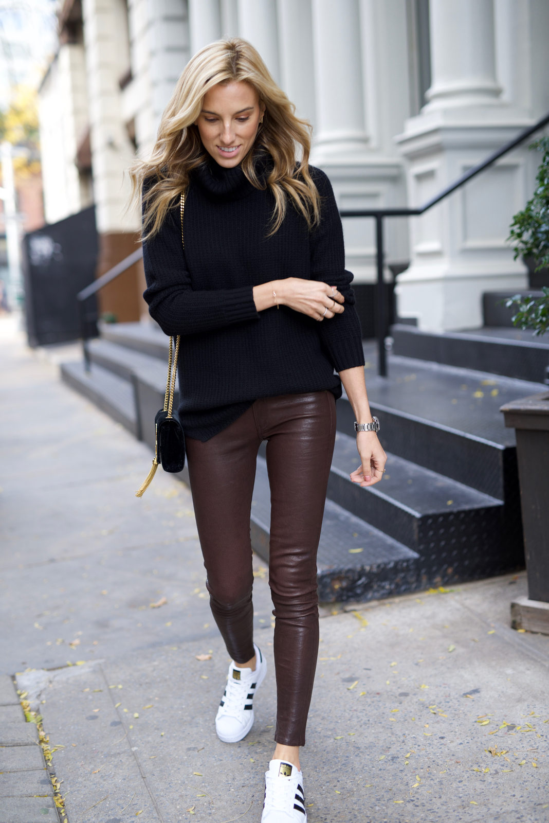 Sporty Chic in Leather Pants & Adidas Superstar Sneakers