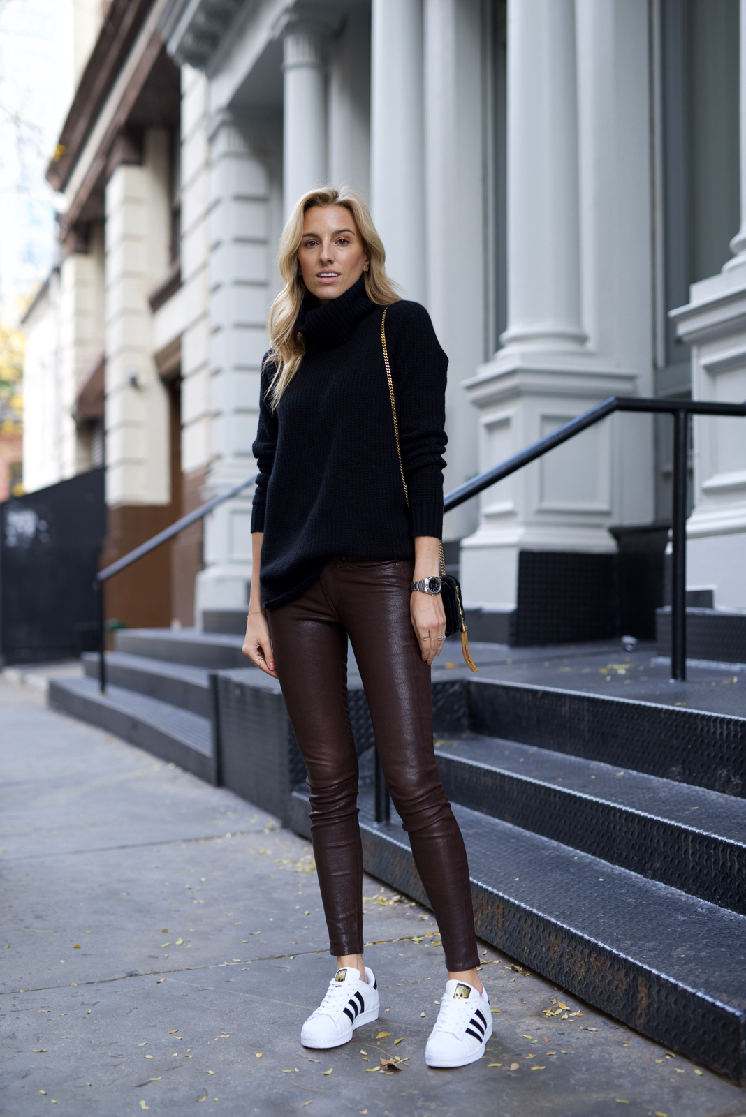 Rag & Bone Leather pants, Holiday outfit inspiration, Adidas Superstar shoes, Cashmere sweater
