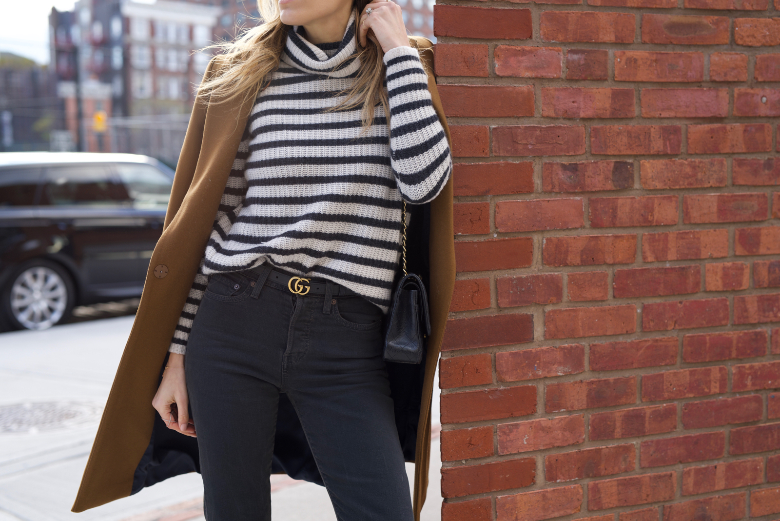 Stripes. Levis, Camel Coat, Lace up booties, Ray-Ban, Chanel, Gucci Belt