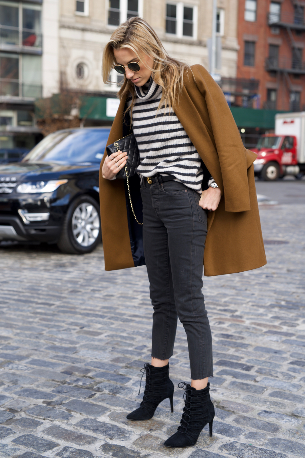 Cashmere Striped Sweater. Levis, Camel Coat, Lace up booties, Ray-Ban, Chanel, Gucci Belt,
