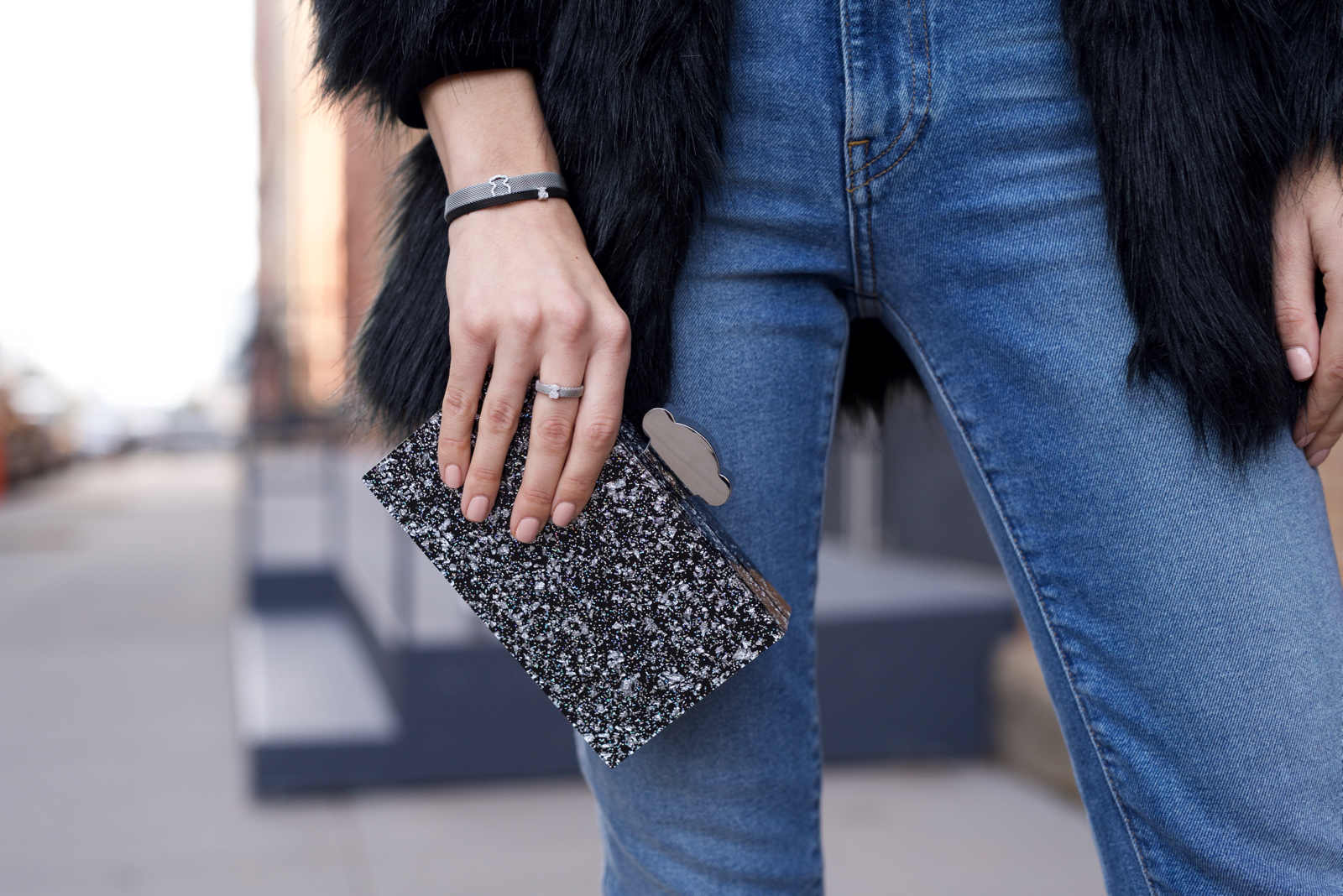 Holiday velvet, Jeans, Faux fur, Tous jewelry