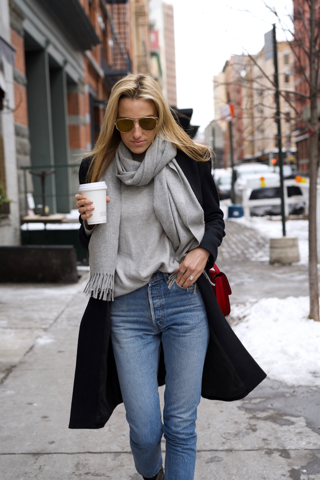 Acne Scarf, Coffe, Dior Sunglasses, Re/Done Jeans, Vintage Levis, Black Coat, Celine bag