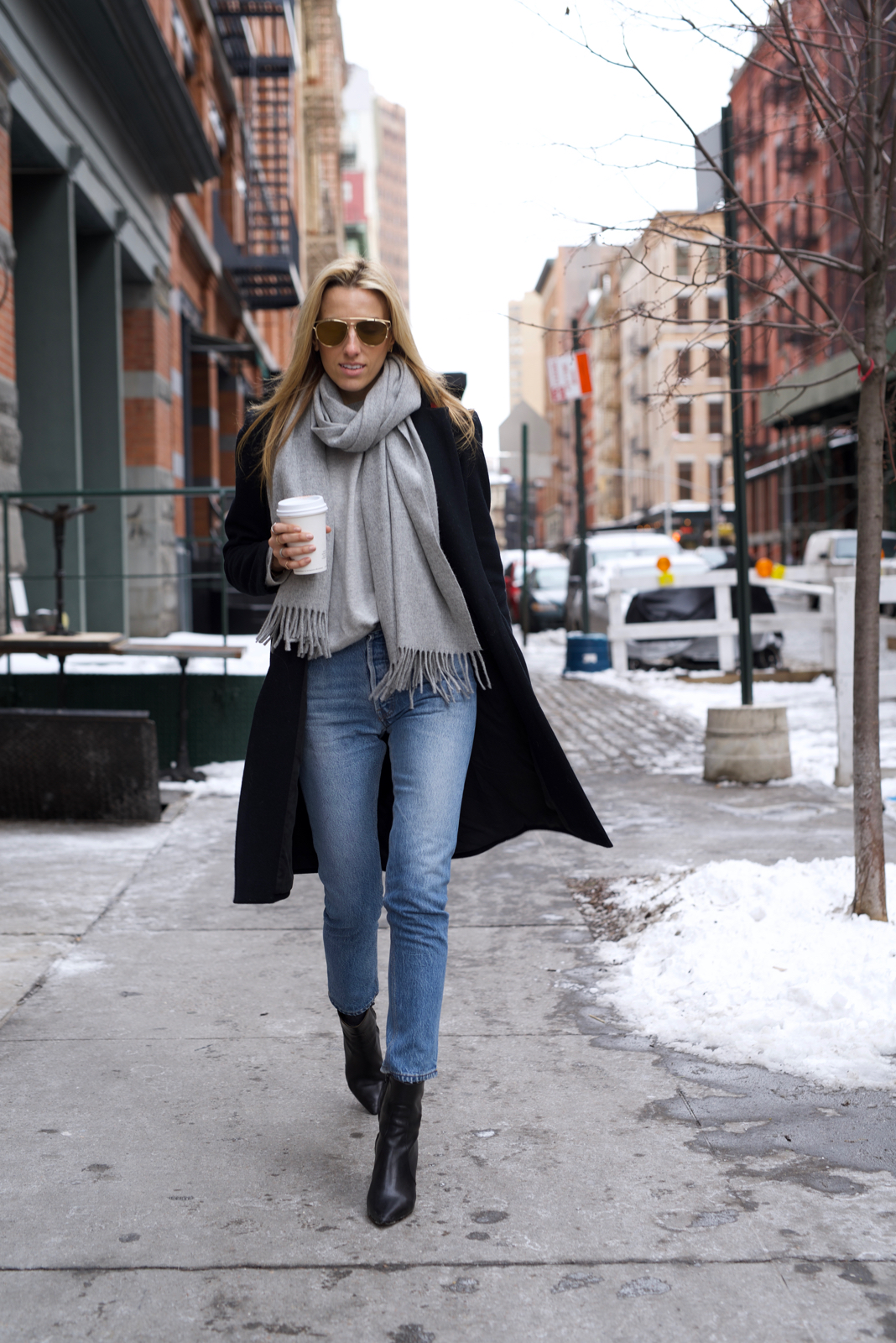 Acne Studios grey Scarf, Coffeenclothes, RE/Done Jeans
