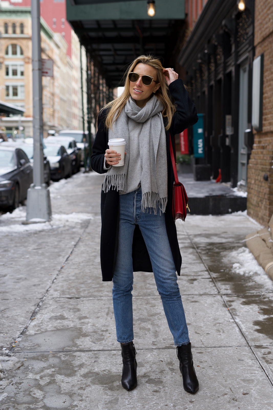 Classic, Casual, Winter Essentials, Grey Scarf, Accessories, Celine Box Bag