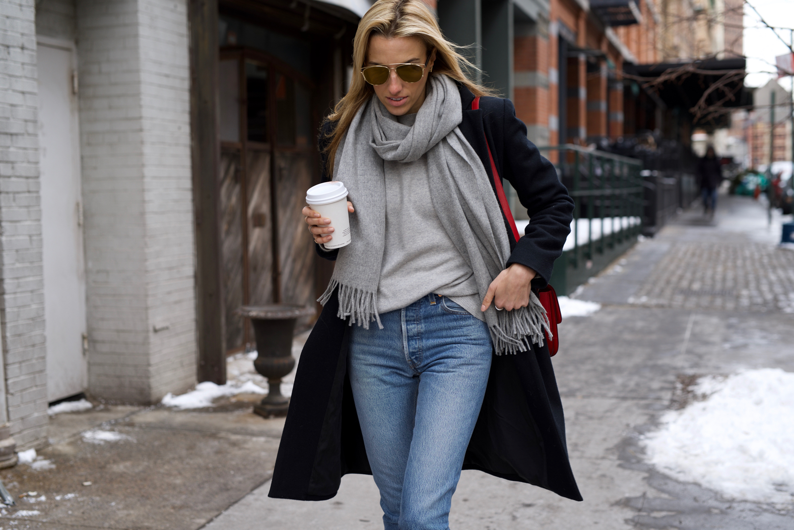 Acne Studios grey Scarf, Coffeenclothes, RE/Done Jeans, Celine bag, Dior Sunglasses, Isabel Marant boots
