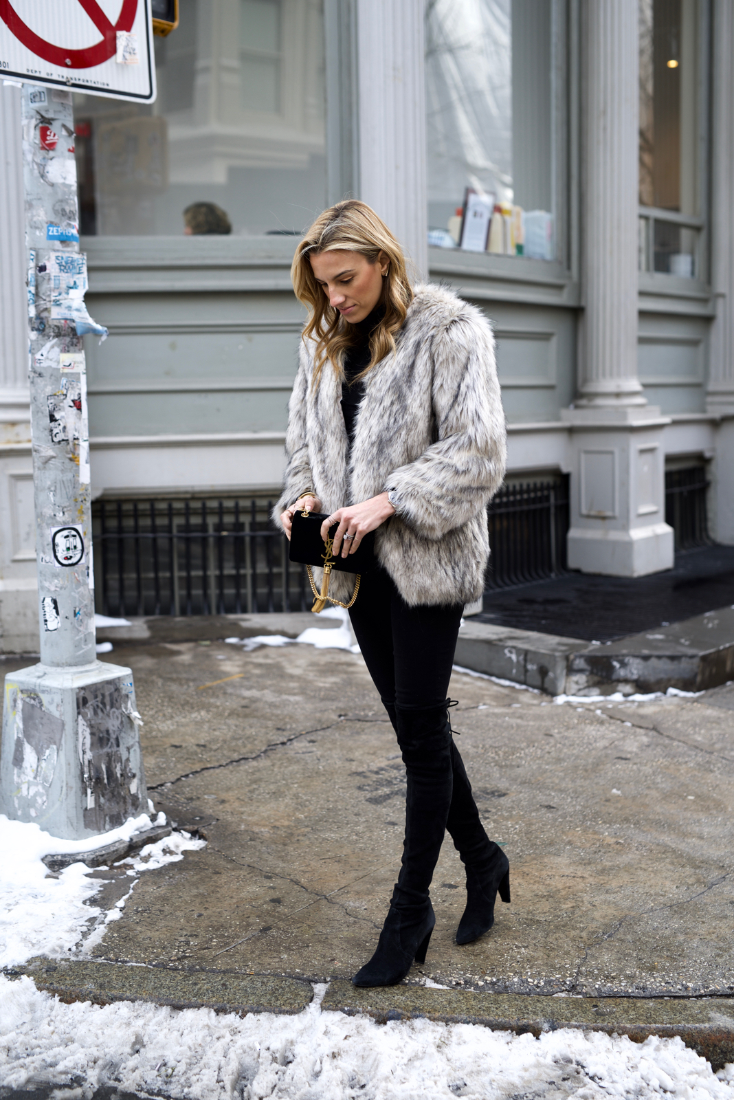 Faux fur coat-Over the knee Boots-All Black-Stuart Weirzman