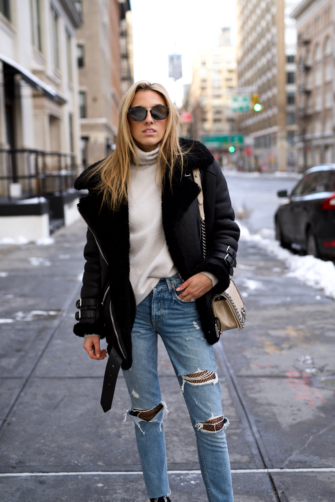 Grlfrnd denim, Chanel bag, Acne Studios jacket, Dior sunglasses