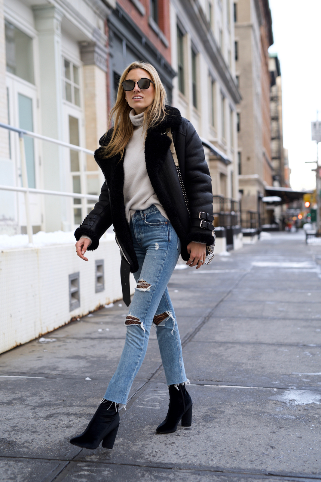 How to wear fishnets and ripped jeans, Acne Velocite coat, Velvet booties, Dior Sunglasses, Chanel boy bag