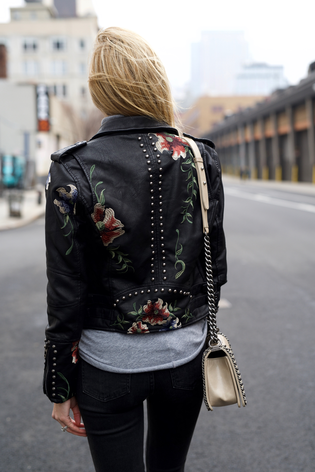 Floral Leather Jacket, Spring trends, Cool Girl outfit, Chanel boy bag, BlankNYC, Moto leather jacket, boots