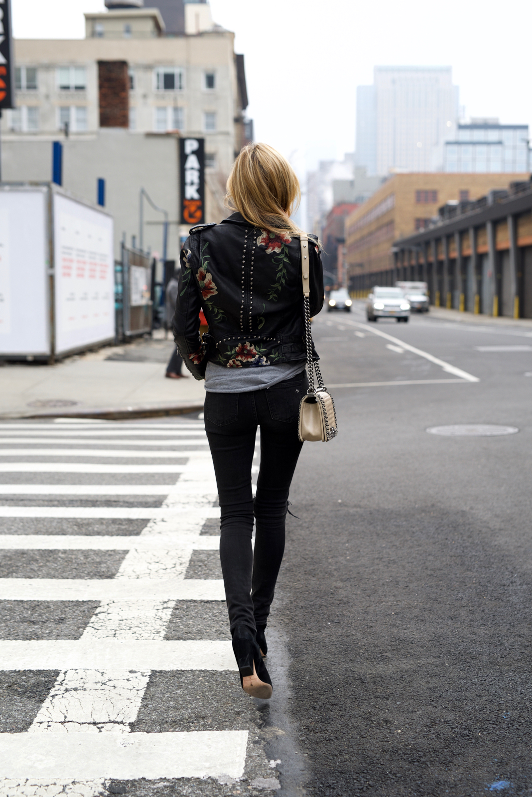 Floral Leather Jacket, Spring trends, Cool Girl outfit, Chanel boy bag, BlankNYC, Moto leather jacket, Model off duty,