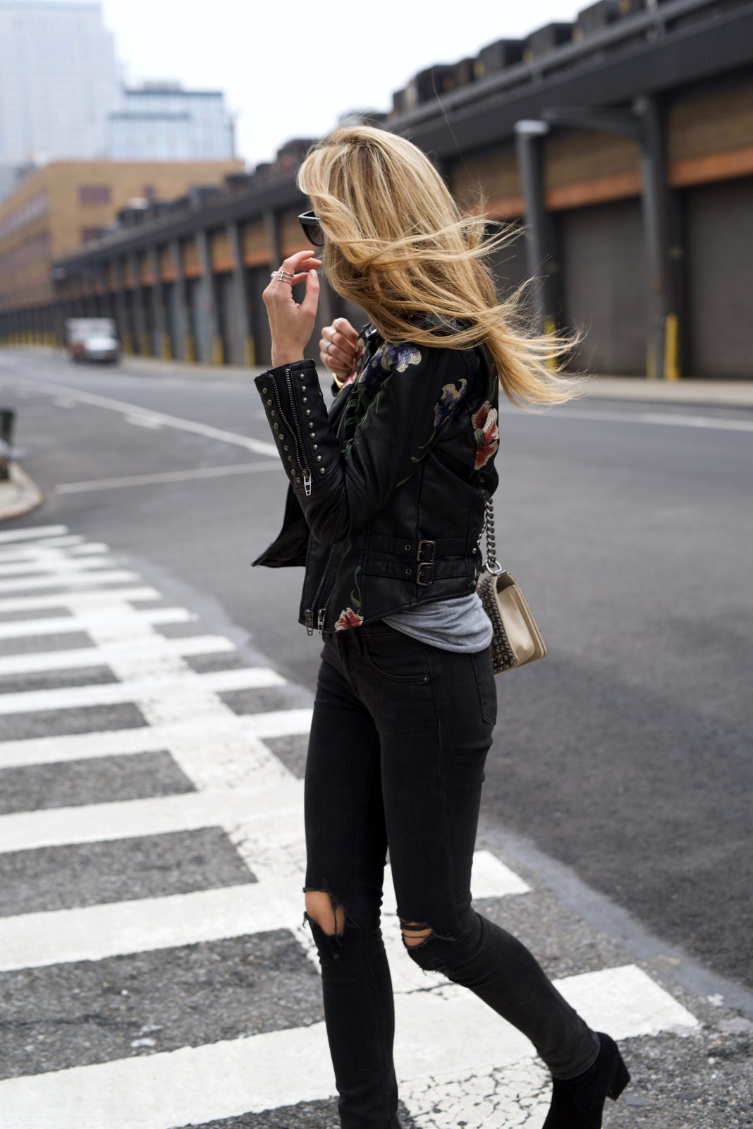 Floral Leather Jacket, Spring trends, Cool Girl outfit, Chanel boy bag, BlankNYC, Moto leather jacket
