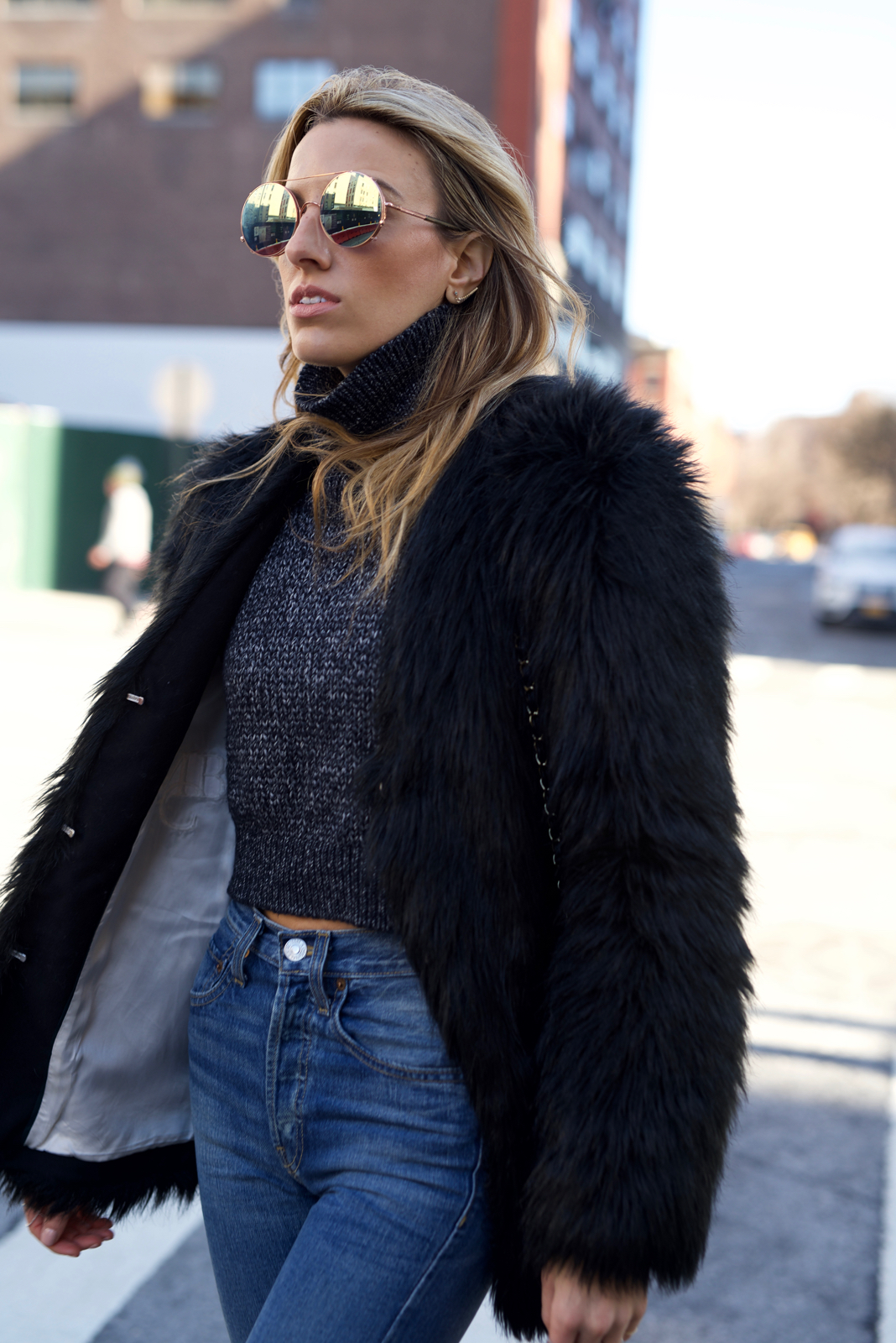 High waisted jeans, Re/Done Originals, Faux Fur Coat, Altuzarra, Sunday Somewhere, Chanel, Cropped Sweater