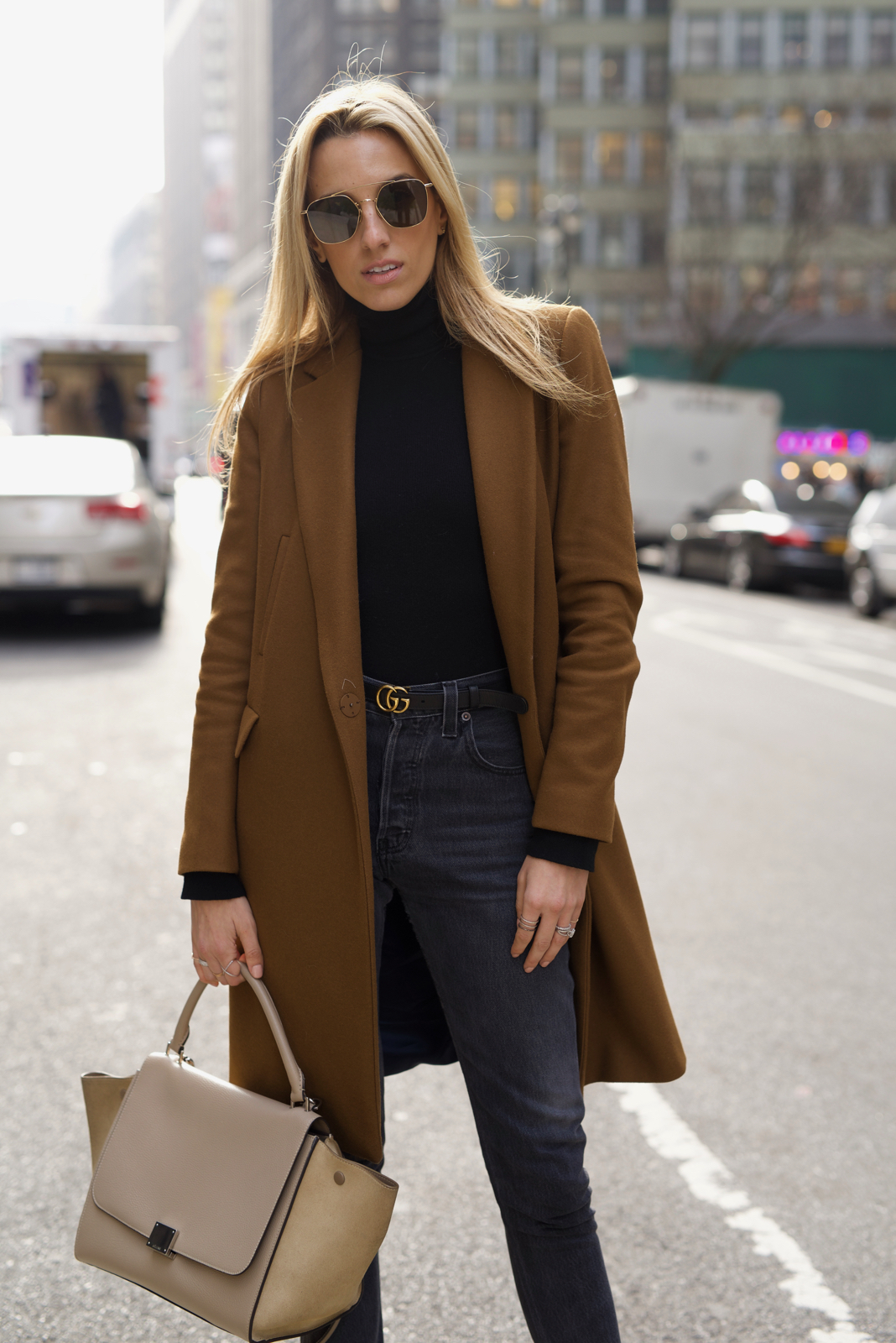 Nyc Street Style In All Black With A Camel Coat Mind