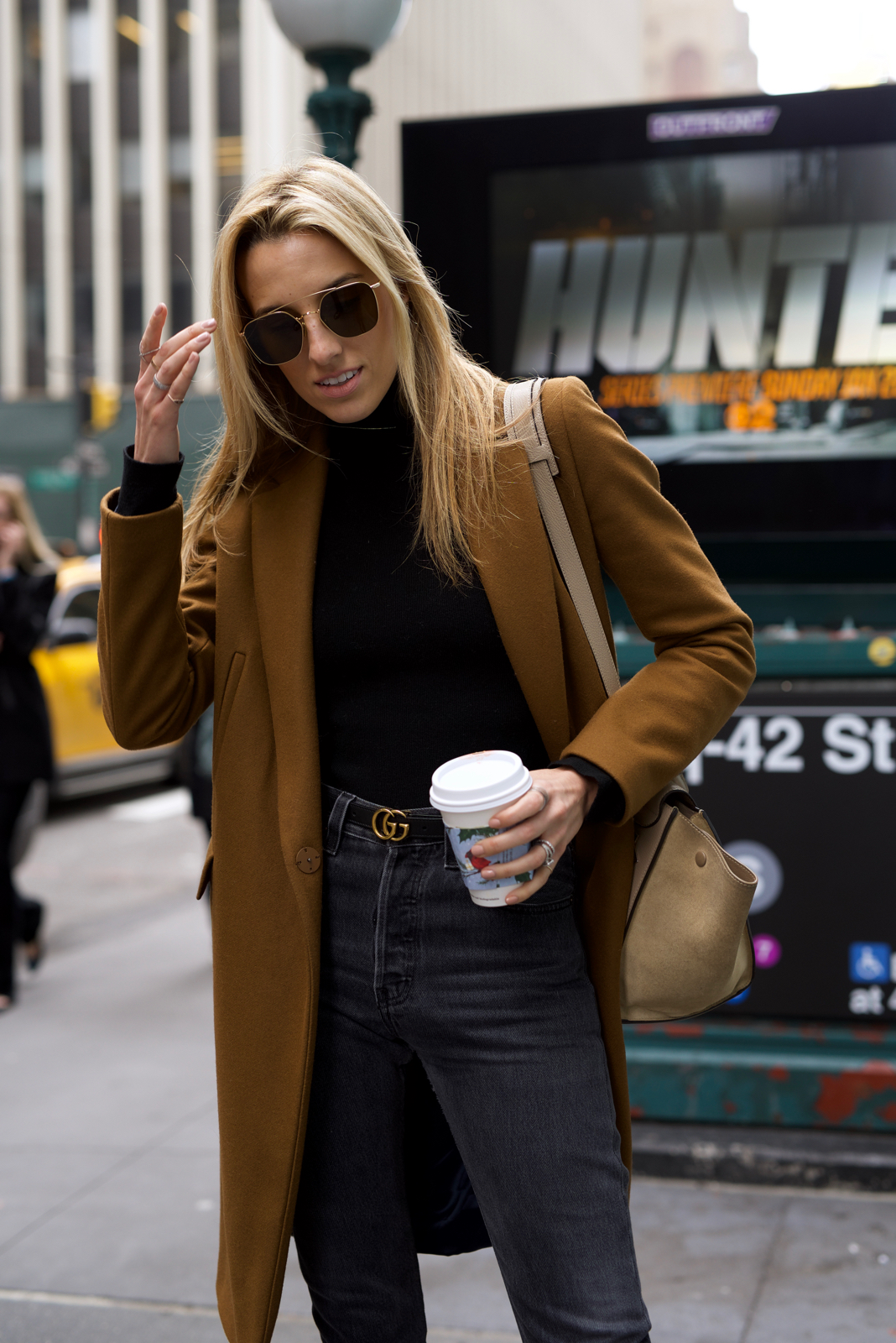 NYC Street Style in All Black with a Camel Coat - Mind Body