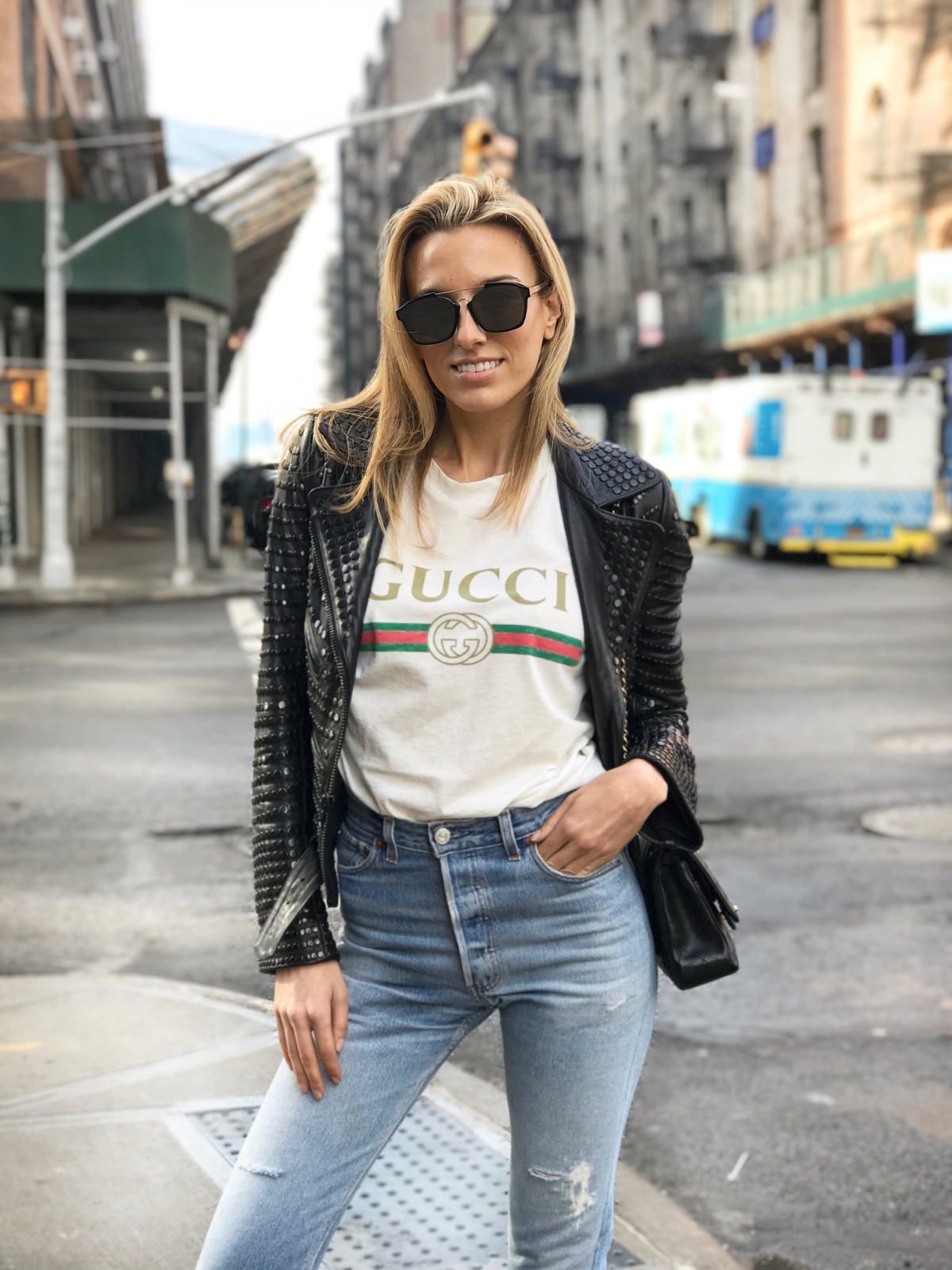Gucci Logo tee, Gucci t shirt, Studded leather jacket, dior sunglasses, levis