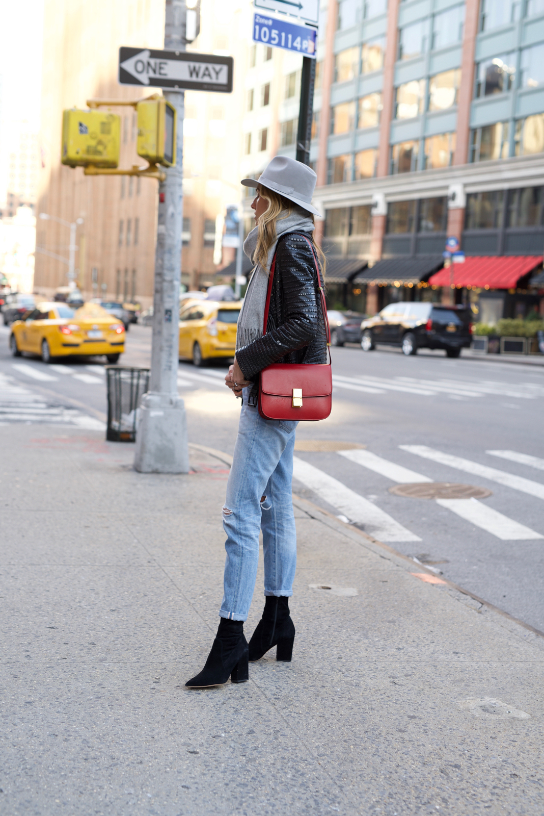 Celine box bag, Fedora, How to wear Hats, Grey scarf, Ripped jeans, Studded leather jacket